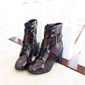 Cityclassified Shoes - random-wine red-combat-lace up-booties